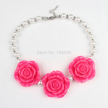 5pcs/lot New Arrival Boutique Girls Chunky Necklace Hot Pink Rose Flower Bubblegum Necklace Kids Party Dress Up
