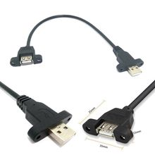 USB 2.0 A Male to USB2.0 Female Extension Molded Panel Mount Extention Port Cable With screws Male to Female Panel