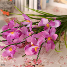 9 Colors Artificial Silk Freesia Fake Cattleya Orchids Freesias for Wedding Centerpieces Home Party Showcase Decorative Flowers