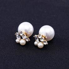 TOMTOSH Wholesale 2017 Fashion Jewelry Women Pearl Earrings Double Sided Ball Crystal Pearl Stud Earrings For Women Girl(China)
