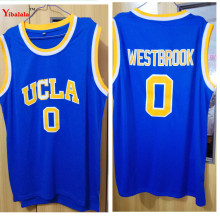 YIBALALA Mens Russell Westbrook #0 UCLA Bruins Blue Stitched Basketball Jersey Stitched Embroidery Logos