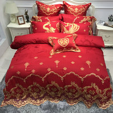 IvaRose Luxury wedding Bedding set silk cotton Bedlinen set Queen King size red gold color bed set Duvet cover set pillow shams(China)