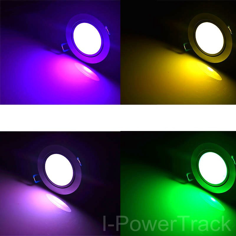10W Color Change RGB LED Remote Recessed Cabinet Lamp Ceiling Spot Down Light colorful led<br><br>Aliexpress
