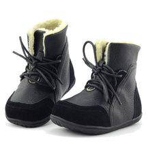 2016 Brand Real Goat Fur Baby Boy Winter Snow Boots Kids Girls Plush Boots Shoes Children Genuine Leather Sneakers Lace-up
