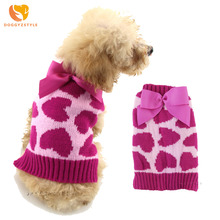 Cute Heart Dog Cat Sweater Winter Pet Puppy Knit Coat Outwear Apparel Warm Pet Dog Clothes for Chihuahua Teddy DOGGYZSTYLE(China)