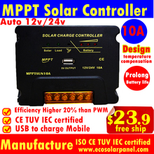 10A 20A MPPT Solar Charge Controller 12V/24V auto Solar cells panels battery charger controller Regulator with USB 5V-MPPTSUN