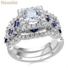 Newshe 2.2 Ct 3 Pcs Solid 925 Sterling Silver Halo Wedding Ring Sets Princess Cut CZ Blue Side Stone Classic Jewelry For Women(China)
