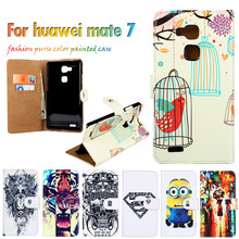 Hot Selling Flip Holster For Huawei Ascend Mate 7 Mate 3 6.0 Inch Cases Shell DIY Painted Leather  Fundas Carcasa