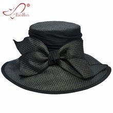 Ladies Paper Cloth Large Cloche   Matching Bow Beach Hat Sun Hat S10-1772( cbffa5bc57e8