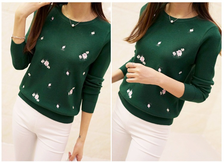 S-3XL New Youth Women's Sweater Autumn Winter 17 Fashion Elegant Peach Embroidery Slim Girl's Knitted Pullover Tops Female 24