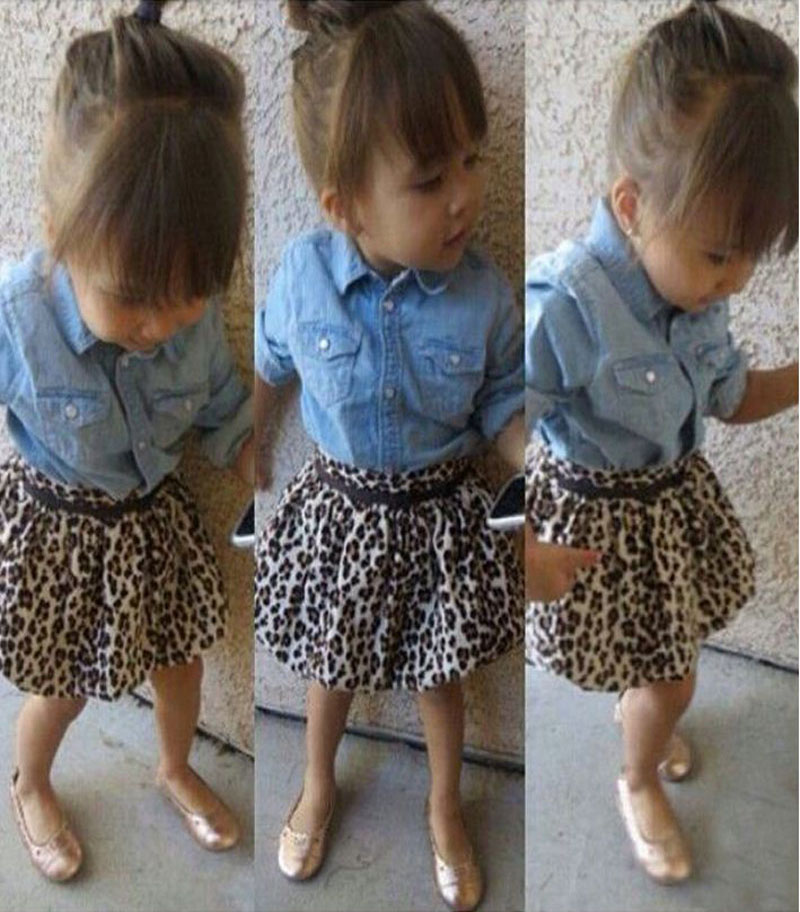 children long sleeve denim shirt +leopard print short skirt +belt 3pcs outfit baby girls clothing set kids clothes suit DY122C