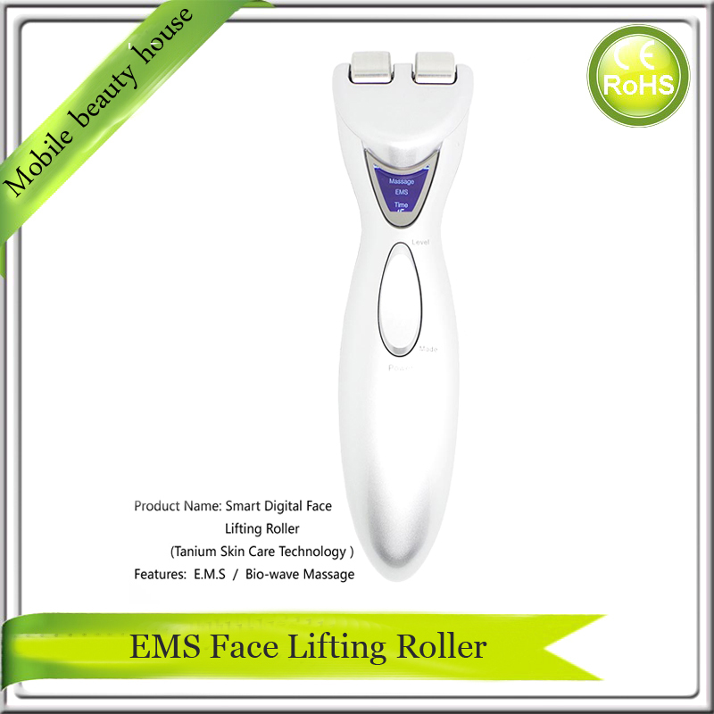 Free Shipping Battery Operated LCD Display EMS Microcurrent Face Lift Skin Tightening Roller Massager Machine<br><br>Aliexpress