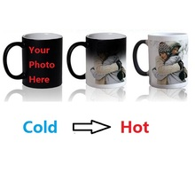 ANGRLY Magic Mug Custom Photo Heat Color Changing Morph Mug 300ML Coffee Cup Beer Milk Mug With Cookie Gift Water Bottle Cheap(China)
