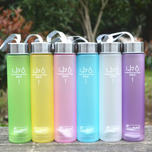 Frosted Effects Plastic Water Bottle with Belt Portable Sport Water Kettle Colorful SpaceCup 280ml SH241(China)