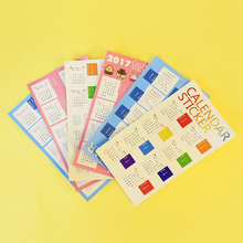 2sheets/pack Creative New Year 2017 Calendar Stickers Diary Decoration Kids DIY Planner Bookmark Decor Label, 3 Available Styles