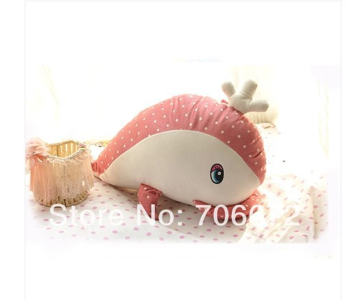 about 50cm pink whale spotted design plush toy doll children gift  t5579<br><br>Aliexpress