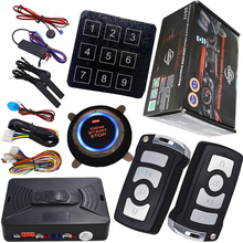 rfid car alarm security system with ignition start stop button automotive keyless entry function hopping code design
