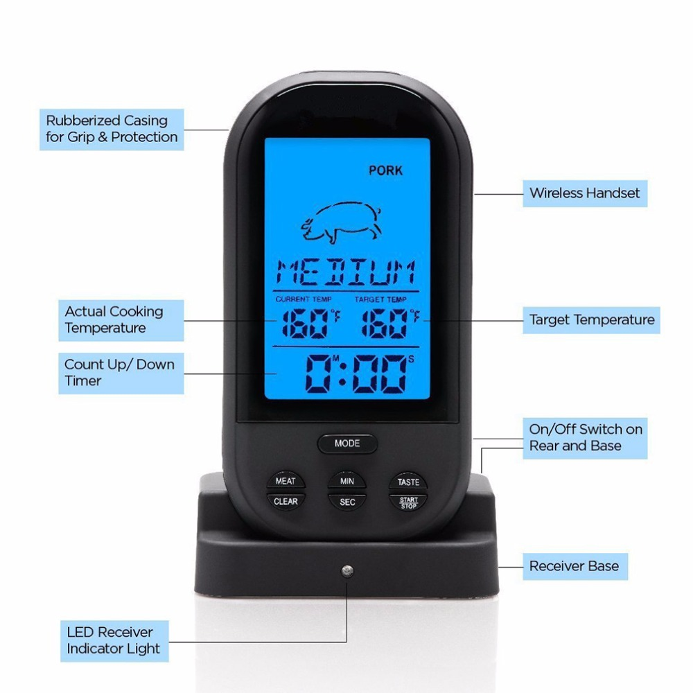 Hot Sale Black Wireless Digital Lcd Display Bbq Thermometer Kitchen Gardner Bender Get3202 Low Voltage Twin Probe Circuit Tester Barbecue Meat Temperature Tool Us113
