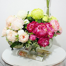 7 heads Artificial peony 1 Bouquet Artificial Flowers silk Vivid Peony Wedding flowers Home Party Decoration