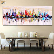 New York City Picture Canvas Wall Art 100% Hand Painted Modern Abstract Oil Painting Gift for Living Room Home Decor No Framed
