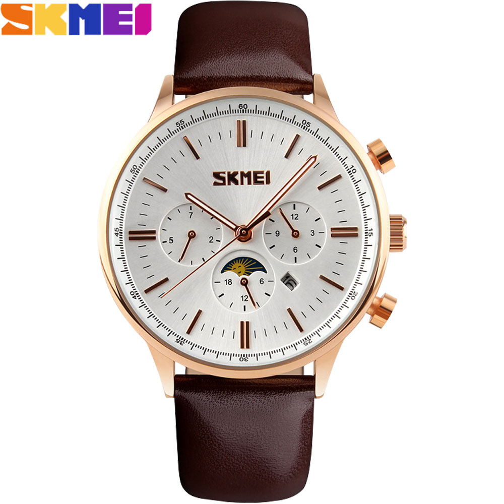 2017 New SKMEI popular Brand Men fashion Watches analog quartz 30M waterproof Wristwatches auto date month quality leather band<br><br>Aliexpress