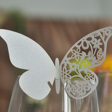 50pcs Silver Butterfly Laser Place Escort Cup Cut Glass Cards Wine Wedding Cards Home Name Cut Paper Cards Party Decorations(China)