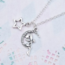 DoreenBeads New Fashion Necklace A Midsummer Night's Dream Fairy Moon Star Pendants Antique Silver For Woman Girl Jewelry