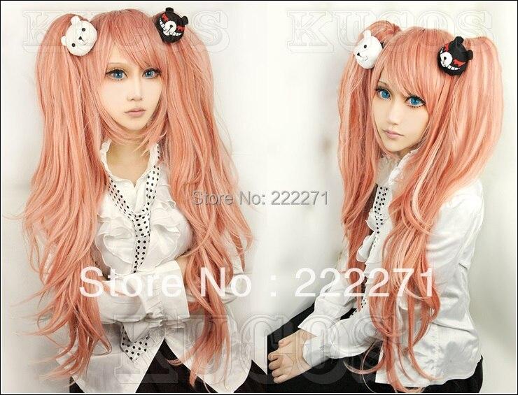 Free Track Anime Dangan Ronpa Zero Junko Enoshima Ponytails Long Pink Cosplay Wig Costume Heat Resistant + Panda Clip  Cap<br><br>Aliexpress