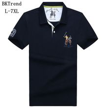 BKTrend New 2017 Brand POLO Shirt Men Cotton Fashion Horse Printed Camisa Polo Summer Short-sleeve Casual Shirts Plus Size L-7XL