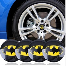Car Styling Reflective Batman Tyre Steering Wheel Center Hub Cap decal sticker Labeling Car Bats Labels Car Stickers Decorative(China)