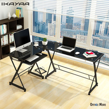 iKayaa US UK FR Stock L-shaped Corner Computer Desk PC Laptop Table Office Tempered Glass 100KG Load Home Office Desks Furniture(China)