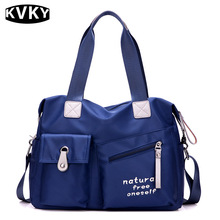 KVKY Fashion New Handbags & Crossbody Bags Women Large Capacity Travel Mom Shoulder Black Blue Puple Soft Nylon Changing Bag