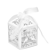 10pcs White Hollow Cut Bird Candy Boxes Sweets Box Baby Shower Gifts Wedding Decorations Wedding Invitations Mariage