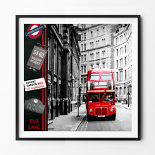 Modern Hot London city red bus Pictures Canvas art painting on the Wall for vintage home decortion for Living Room No Frame
