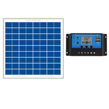 hot sale 10W Solar Panels + 10A 12V 24V Solar Controller LCD display small solar home system 18V solar charger 12V battery