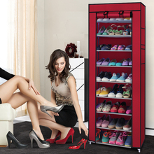 10 layer 9 grid Korean simple multi-functional Shoe Cabinets non-woven dust shoe racks wholesale shoe rack(China)
