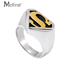 Mcllroy Punk Hot Titanium Steel Superman Ring Proud Men and Women Fashion Rings Super Man heavy jewelry Female Male 316L Rings(China)