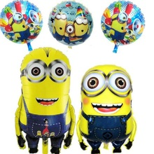 1pcs/lot minions balloons Cartoon large helium mylar ballons for Christmas Birthday party baby show foil ballon baloes