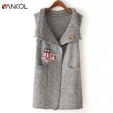 Woolen Vest for Women Autumn Fashion Brand Designer 2016 NEW Russian Women Long Vest Fashion Knitted Vest Sleeveless Jacket