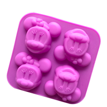 4 Even Minnie Mickey Moon Cake Mold Silicone Kitchen Baking Silicone Bakeware Soap Mold Mold E253