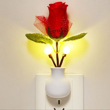 LED Rose Night Light Rose Lamp Home Decoration LED Wall Lamp Night Light Sensor