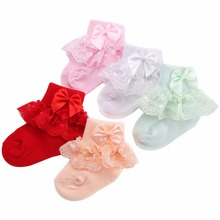 2016 Christening Winter Warm Calcetines Bebe Newborn Cotton Baby Socks,Kid Ruffled Chaussette Bebe Knitted Knee Lace Leg Warmers(China)
