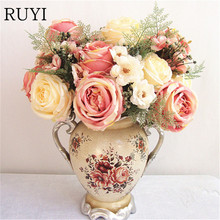 Artificial peony flower bouquet spring silk / fake flower living room decoration wedding rose Simulation plants(China)