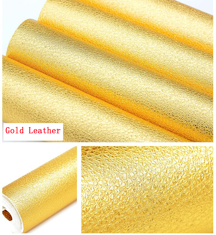 Luxury Golden Leather Embossed PVC Wallpaper Roll Vinyl Decorative Wall<br>