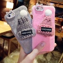 3D Christmas Santa Claus Cute Hat Decor Cases For iPhone 6 6s Plus 6plus 7 7Plus Bling Diamond Wram Rabbit Fur Plush Phone Cases