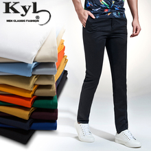 KunYuLang2017 Men Casual Pants 98% Cotton Brand Spring Summer New Slim Straight Young Man Trousers Size 29-40 Perfume Masculino