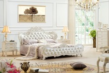 luxury bedroom furniture sets bedroom furniture Baroque Bedroom Set solid wood bed group buying furniture(China)