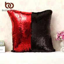 BeddingOutlet Mermaid Sequin Cushion Cover Magical Shining Pillow Case Patchwork Decorative Pillowcase Stylish Sofa Car 40X40cm