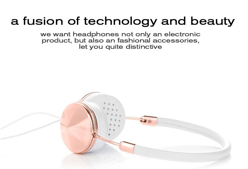 Liboer Beautiful Headphones Dynamic Headband Rose Gold Headphones with Mic Wired Headset for Mobile Phone On-ear Headphone 03