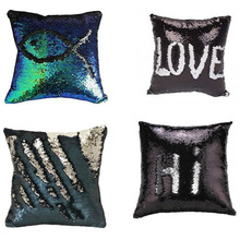 BeddingOutlet Mermaid Sequin Cushion Cover Magical Changing red Silver Fashion Decorative Pillow Protectors for Sofa 40cmX40cm